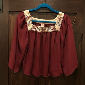 Burgundy Blouse with Embroidered Square Neckline